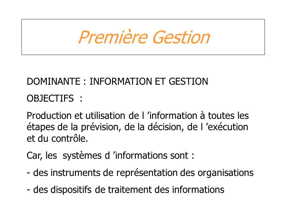 Première Gestion DOMINANTE : INFORMATION ET GESTION OBJECTIFS :