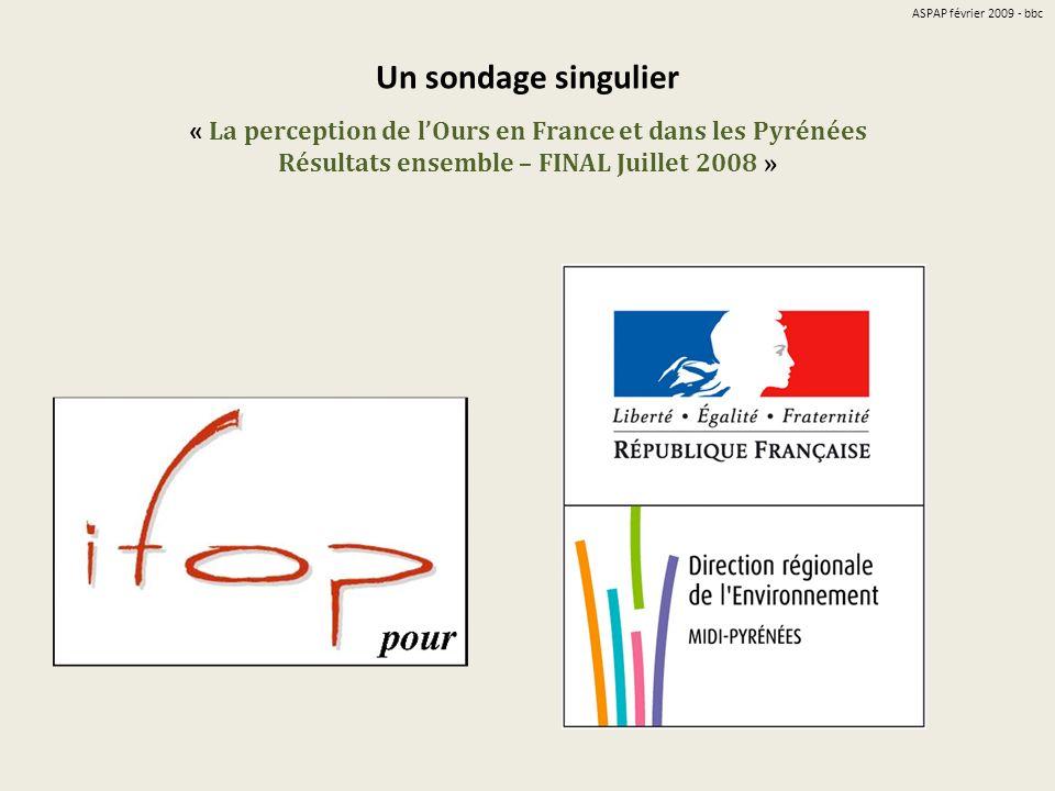 ASPAP février 2009 - bbc Un sondage singulier « La perception de l'Ours en France et dans les Pyrénées Résultats ensemble – FINAL Juillet 2008 »