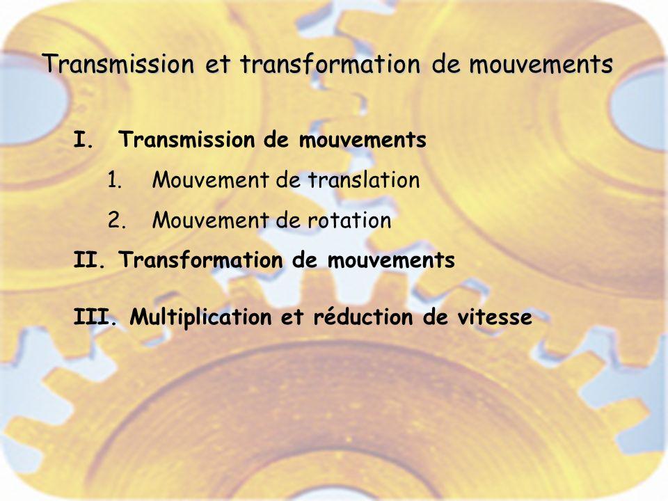 Transmission et transformation de mouvements