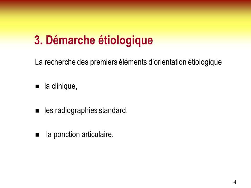 3. Démarche étiologique La recherche des premiers éléments d'orientation étiologique. la clinique,