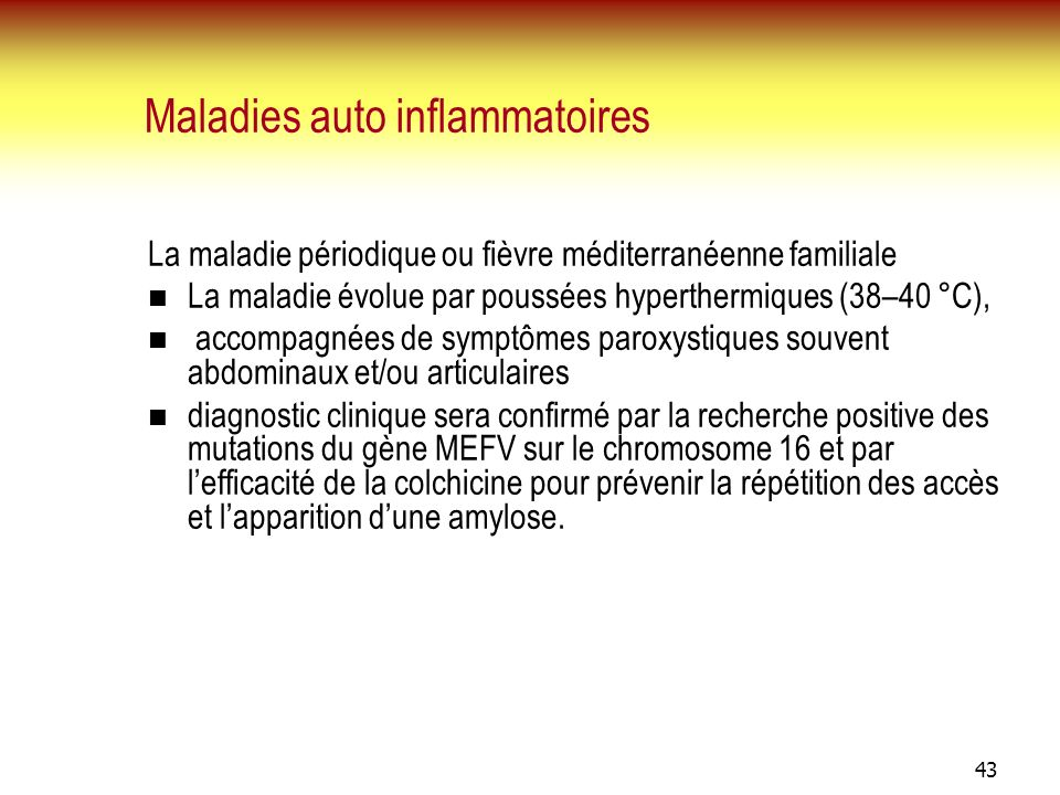 Maladies auto inflammatoires