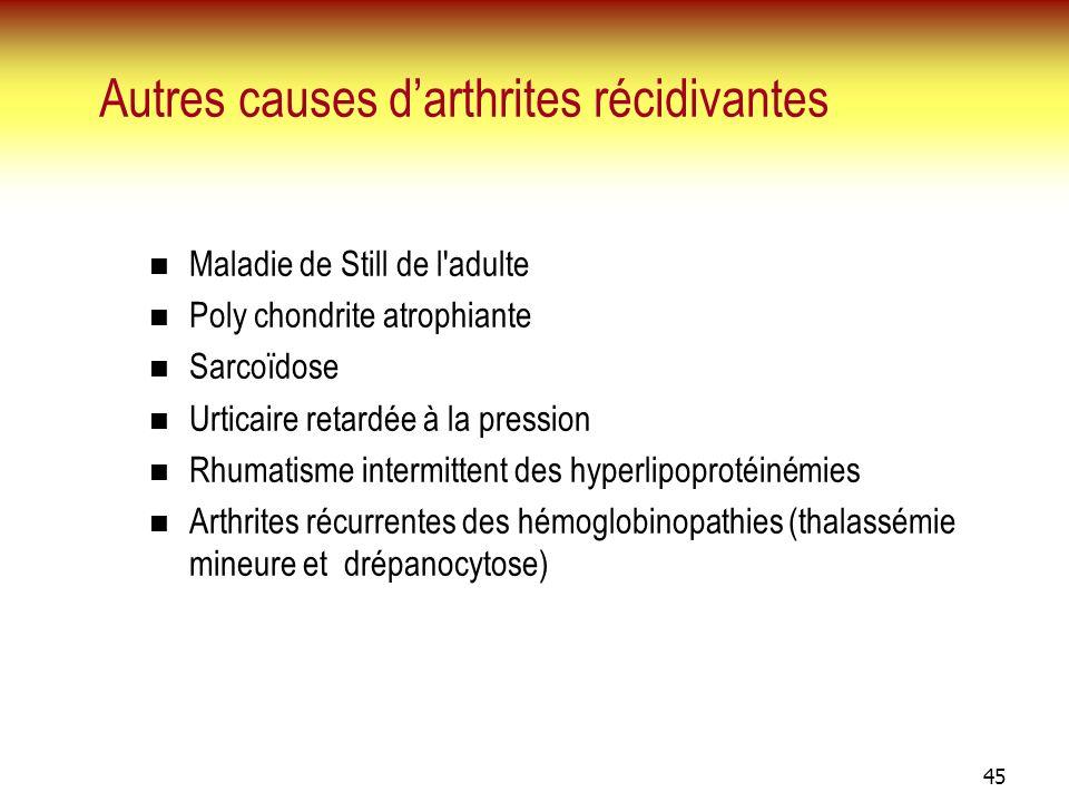 Autres causes d'arthrites récidivantes