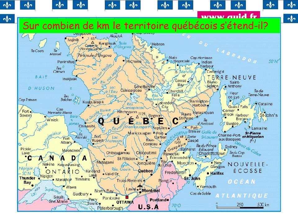 Sur combien de km le territoire québécois s'étend-il