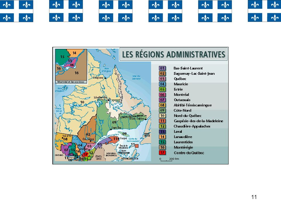 Le Québec qui est divisé en 17 régions administratives.