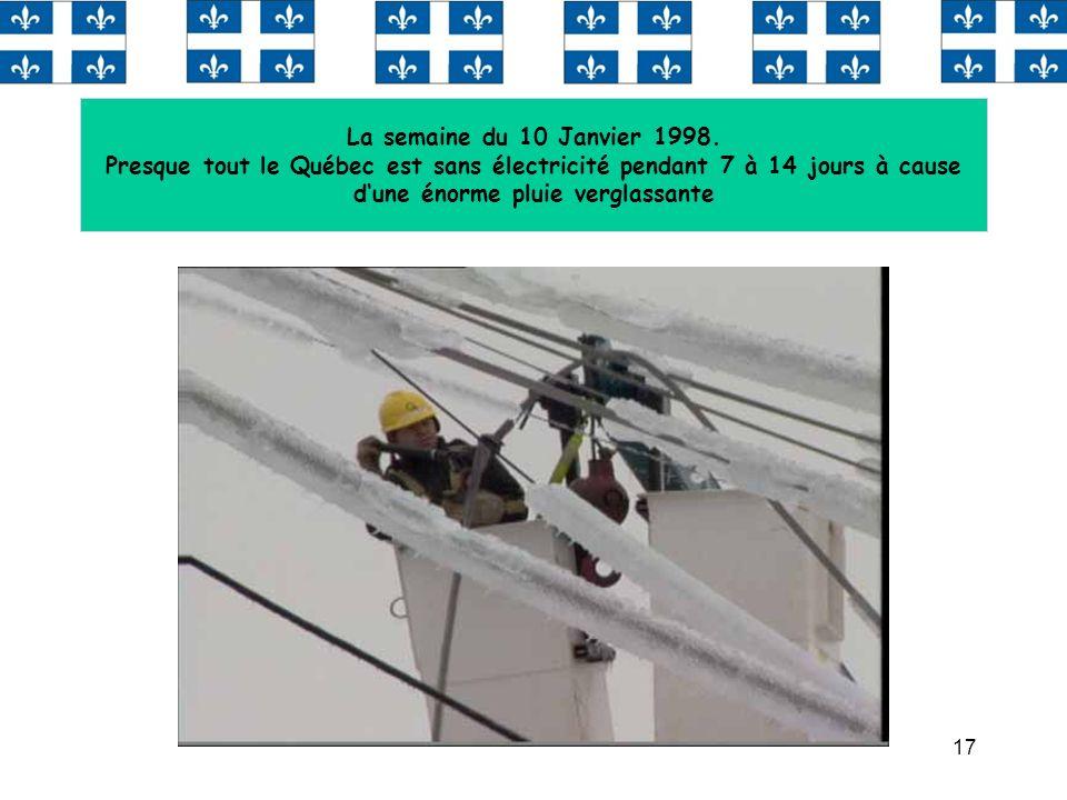 La semaine du 10 Janvier 1998. Presque tout le Québec est sans électricité pendant 7 à 14 jours à cause d'une énorme pluie verglassante