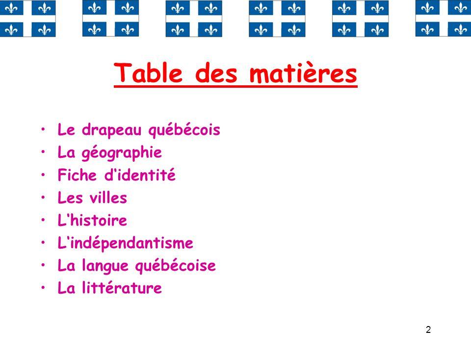 Table des matières Le drapeau québécois La géographie Fiche d'identité