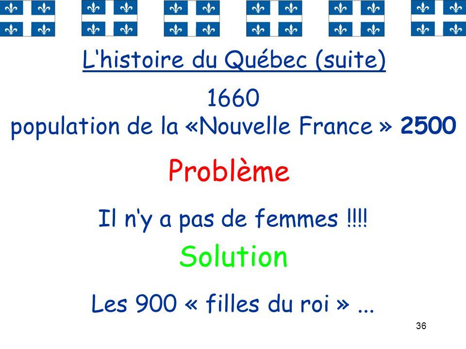 population de la «Nouvelle France » 2500