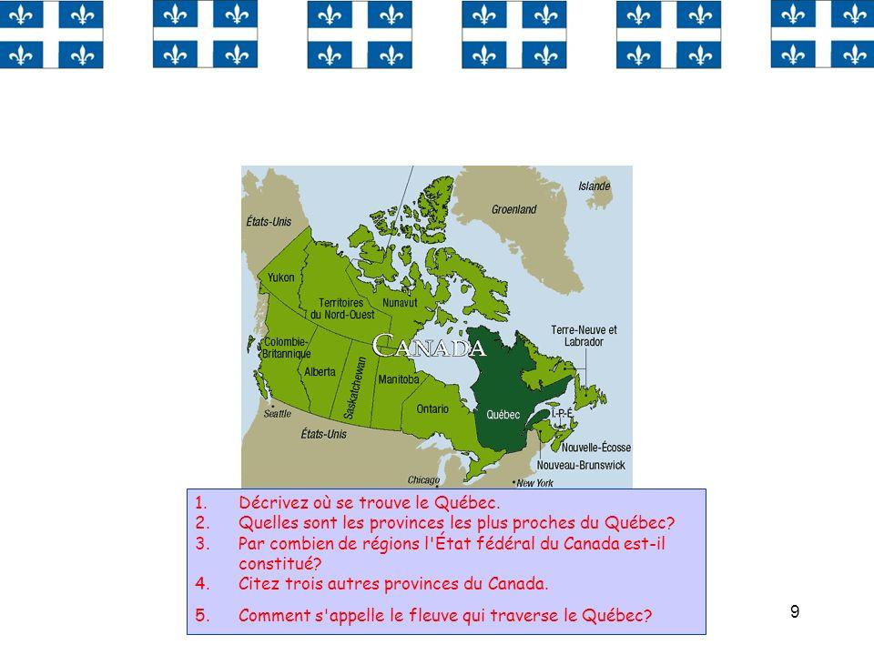 Décrivez où se trouve le Québec.