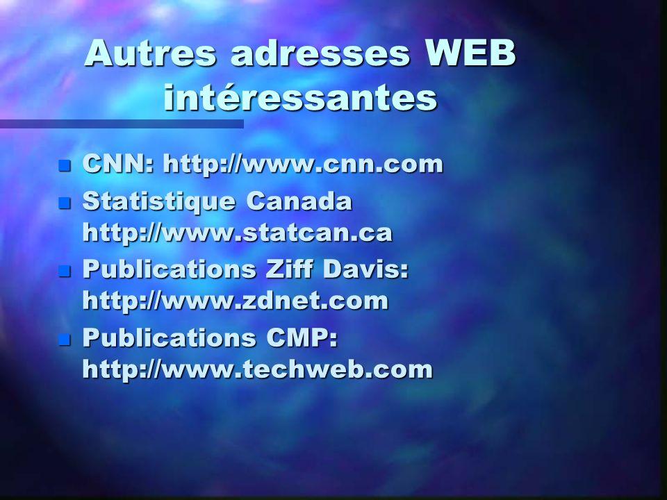 Autres adresses WEB intéressantes