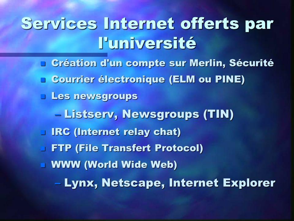 Services Internet offerts par l université