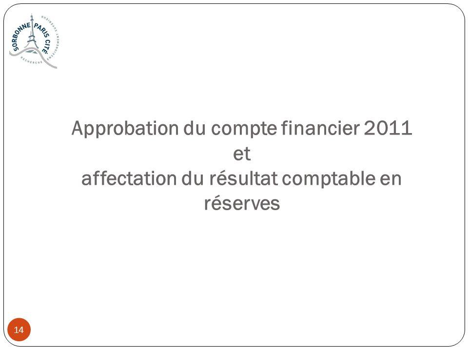Approbation du compte financier 2011 et affectation du résultat comptable en réserves