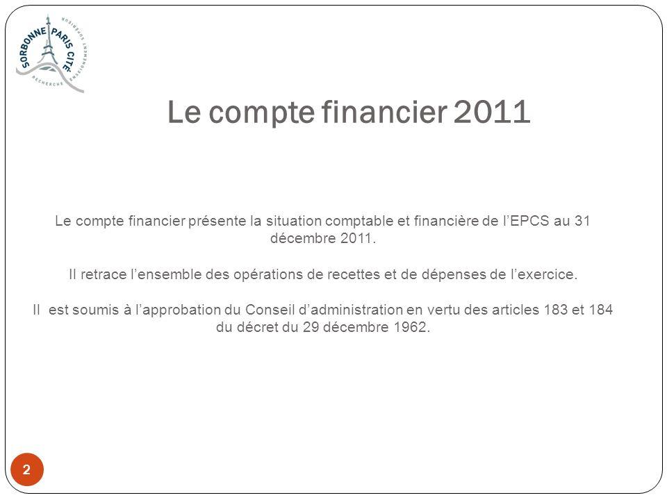 Le compte financier 2011 Le compte financier présente la situation comptable et financière de l'EPCS au 31 décembre 2011.