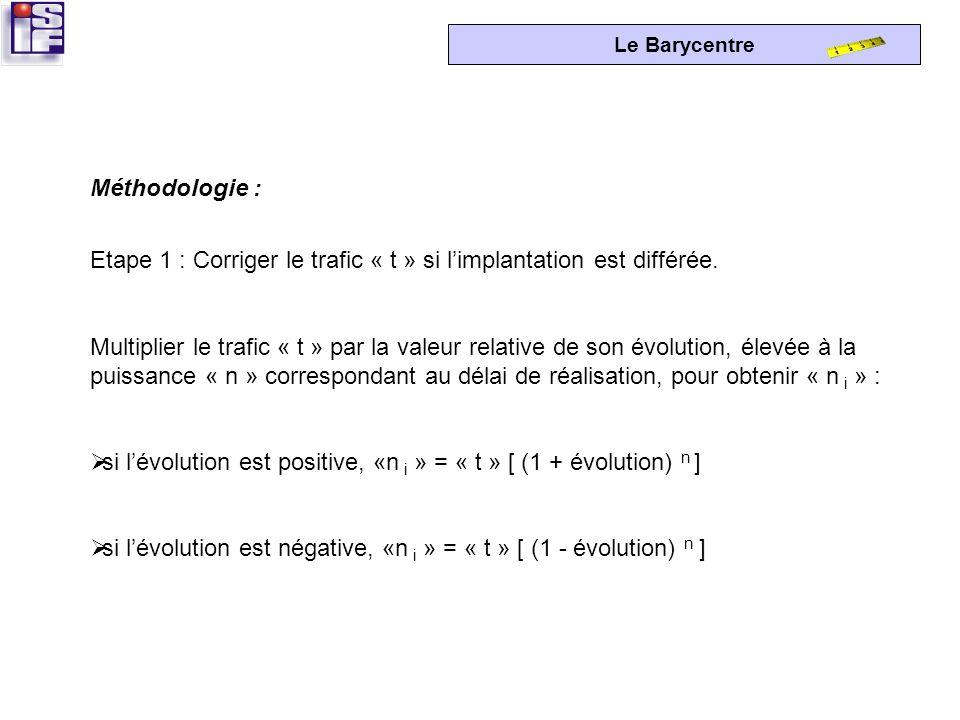 Méthodologie : Etape 1 : Corriger le trafic « t » si l'implantation est différée.