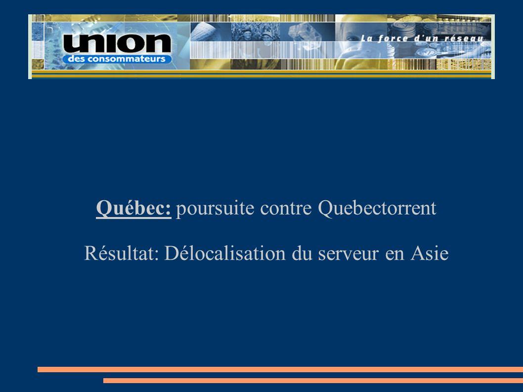 Québec: poursuite contre Quebectorrent