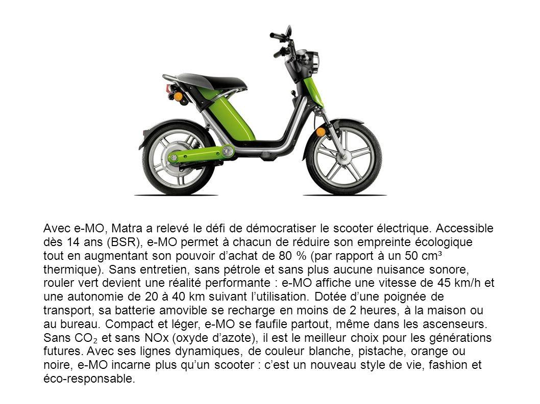 Avec e-MO, Matra a relevé le défi de démocratiser le scooter électrique.