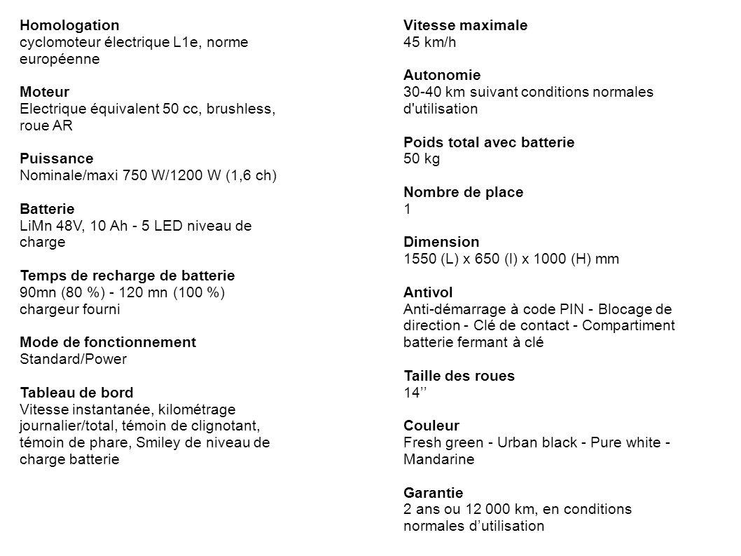 Homologation cyclomoteur électrique L1e, norme européenne. Moteur. Electrique équivalent 50 cc, brushless, roue AR.