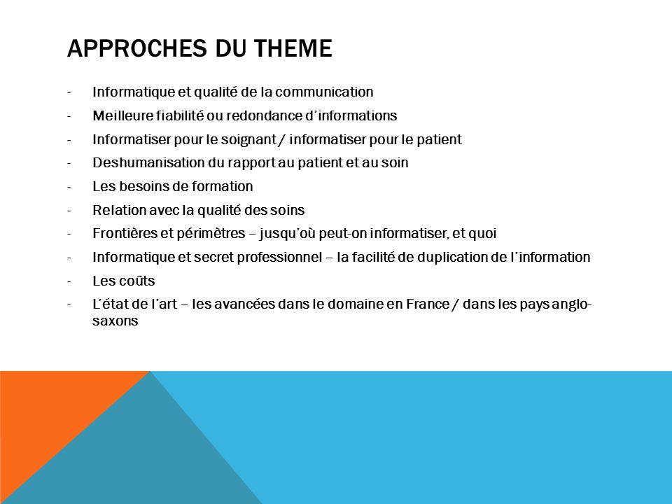 Approches du theme Informatique et qualité de la communication