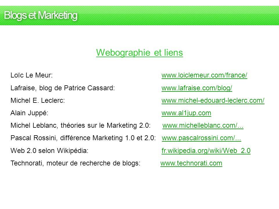 Webographie et liens Loïc Le Meur: www.loiclemeur.com/france/