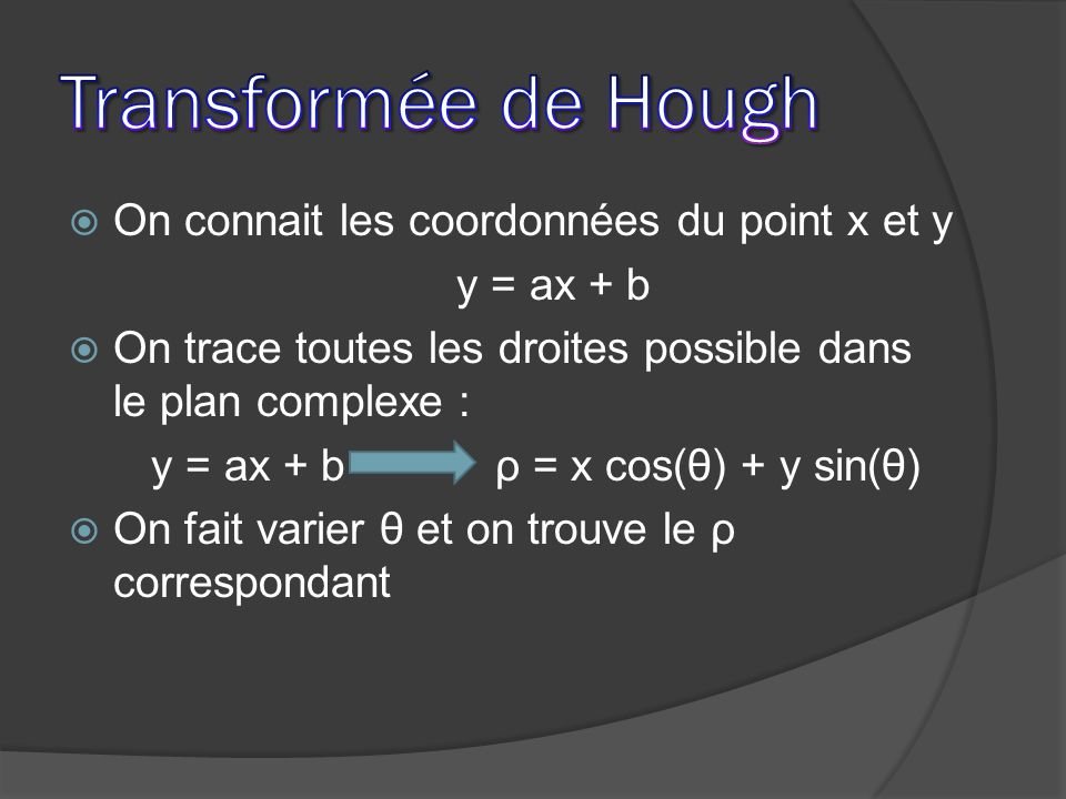 y = ax + b ρ = x cos(θ) + y sin(θ)