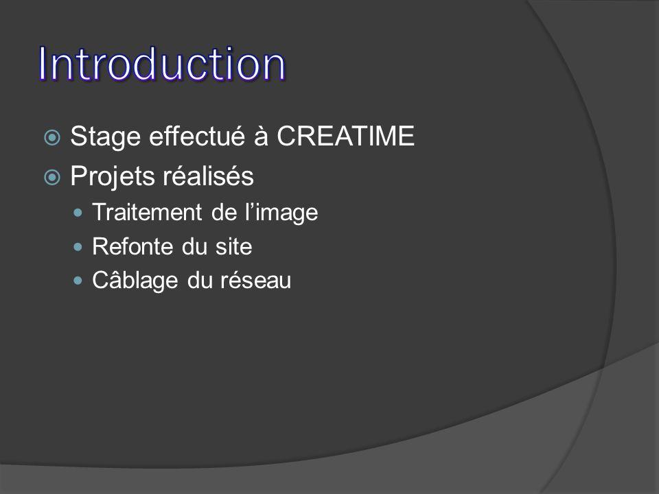 Introduction Stage effectué à CREATIME Projets réalisés