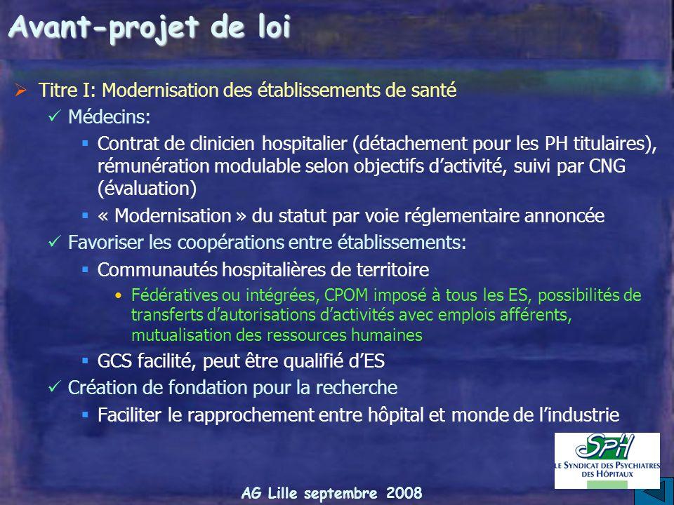 Avant-projet de loi Titre I: Modernisation des établissements de santé