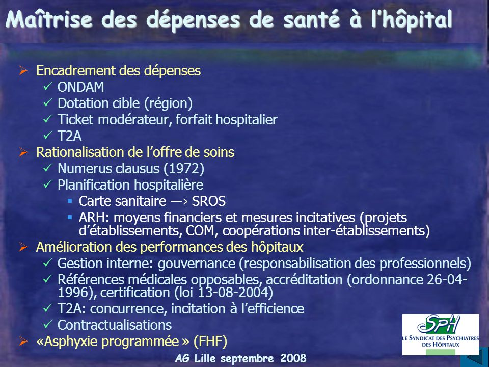 Maîtrise des dépenses de santé à l'hôpital