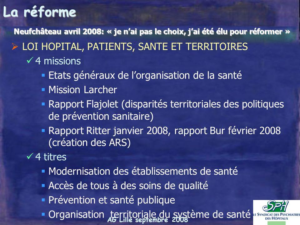 La réforme LOI HOPITAL, PATIENTS, SANTE ET TERRITOIRES 4 missions