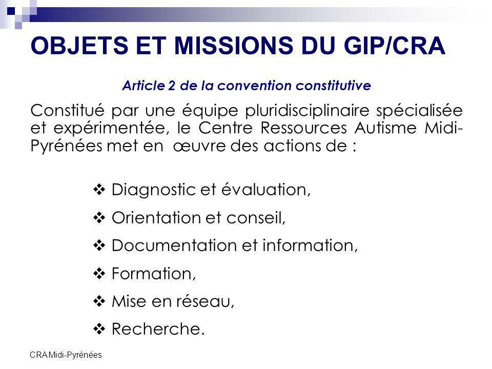 OBJETS ET MISSIONS DU GIP/CRA