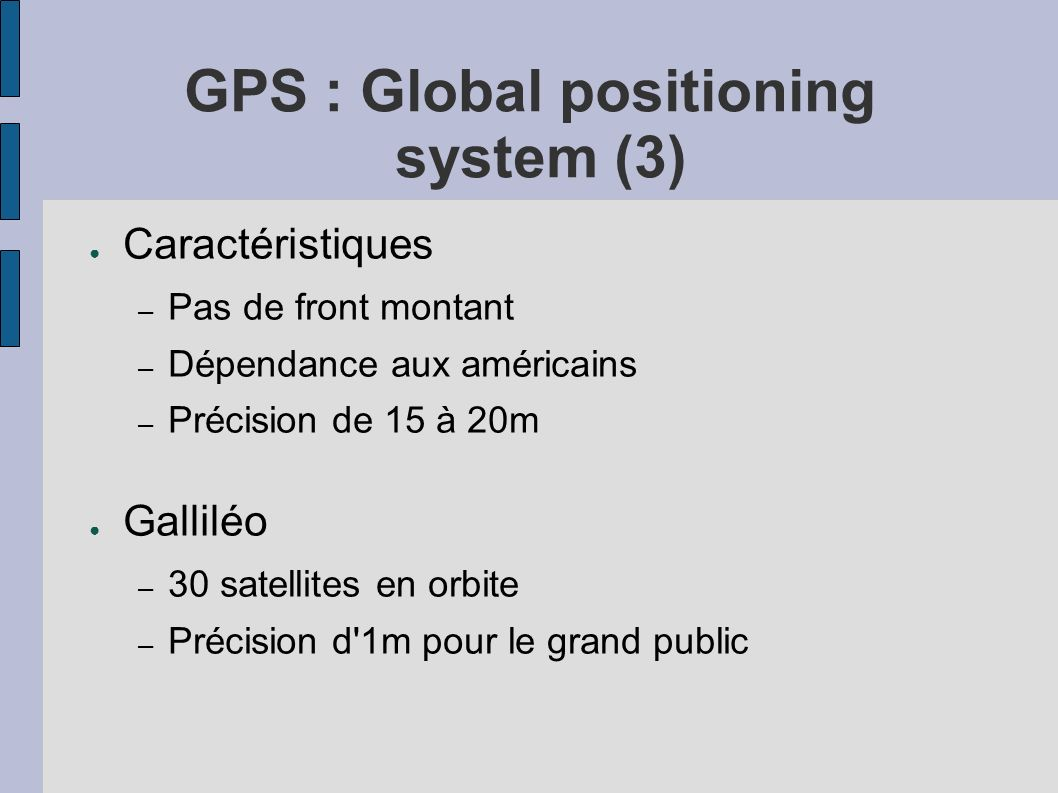GPS : Global positioning system (3)