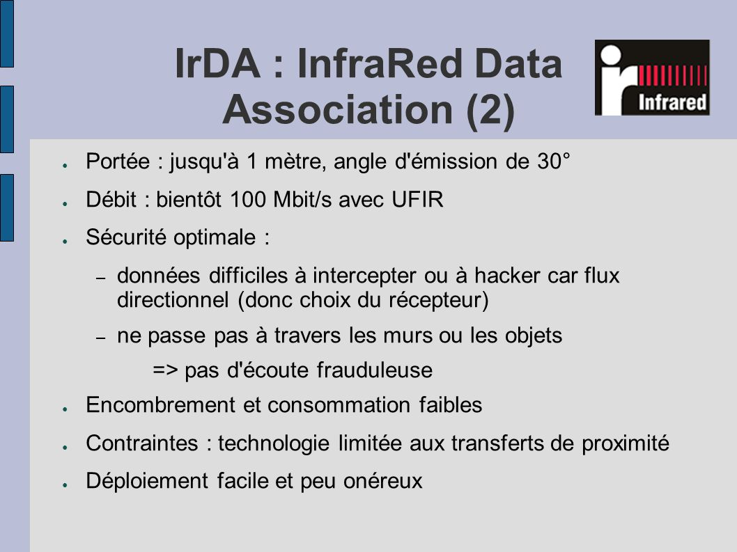 IrDA : InfraRed Data Association (2)