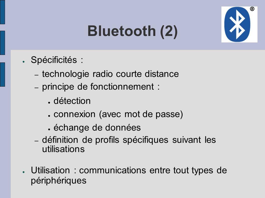 Bluetooth (2) Spécificités : technologie radio courte distance