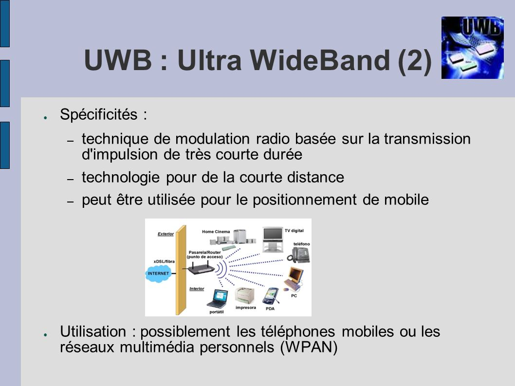 UWB : Ultra WideBand (2) Spécificités :