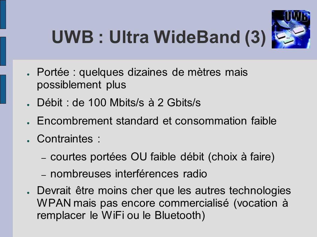 UWB : Ultra WideBand (3)Portée : quelques dizaines de mètres mais possiblement plus. Débit : de 100 Mbits/s à 2 Gbits/s.