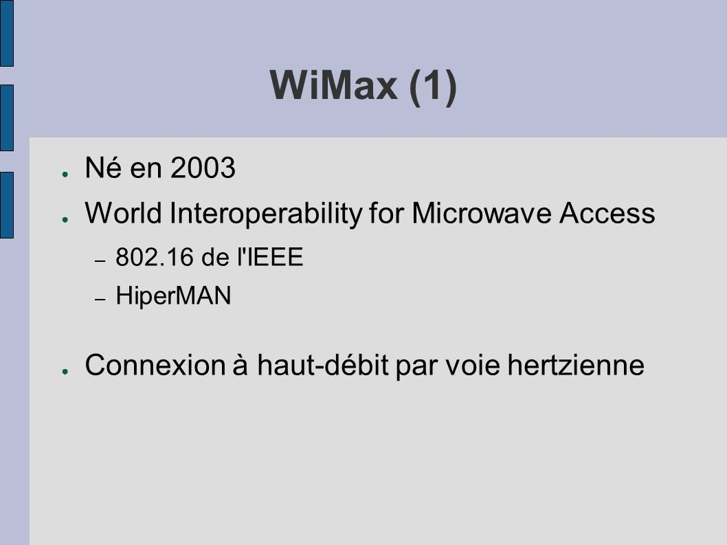 WiMax (1) Né en 2003 World Interoperability for Microwave Access