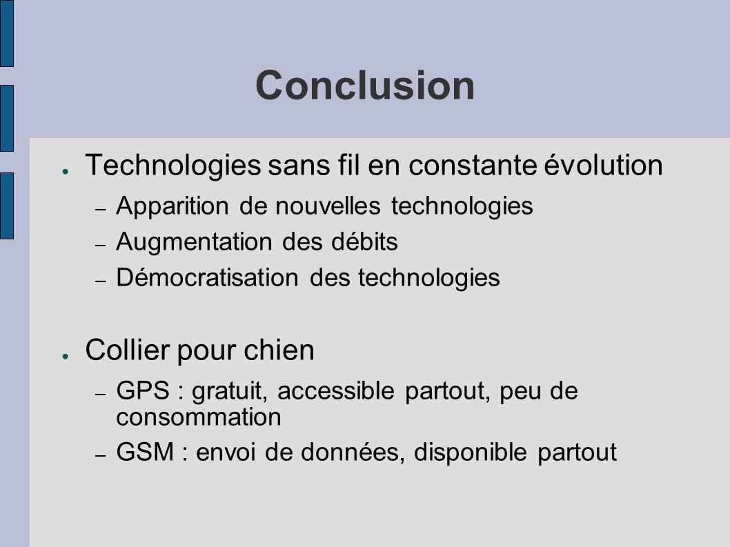 Conclusion Technologies sans fil en constante évolution