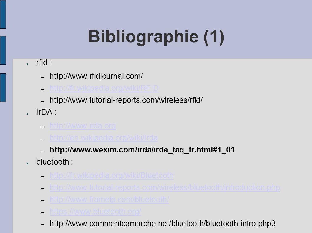 Bibliographie (1) rfid : http://www.rfidjournal.com/