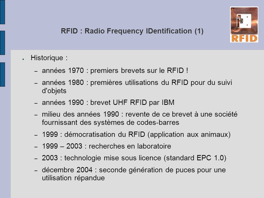 RFID : Radio Frequency IDentification (1)