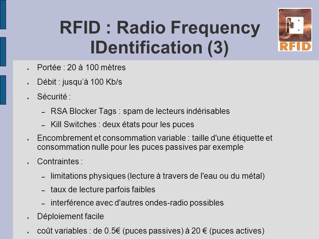 RFID : Radio Frequency IDentification (3)