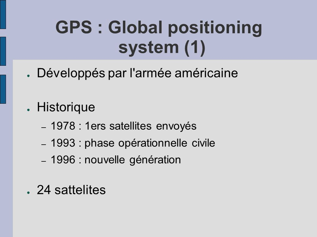GPS : Global positioning system (1)
