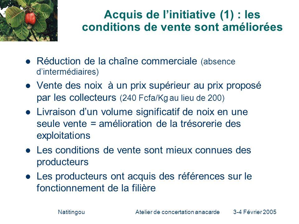 Acquis de l'initiative (1) : les conditions de vente sont améliorées