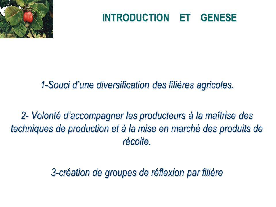 INTRODUCTION ET GENESE