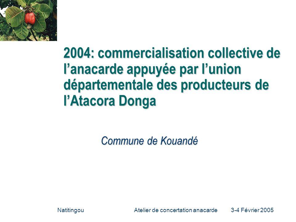 Atelier de concertation anacarde 3-4 Février 2005