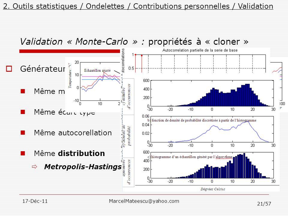 Validation « Monte-Carlo » : propriétés à « cloner »