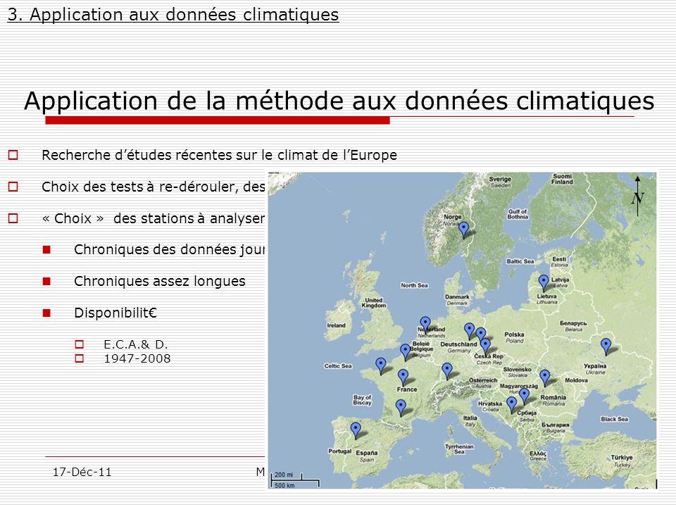 Application de la méthode aux données climatiques