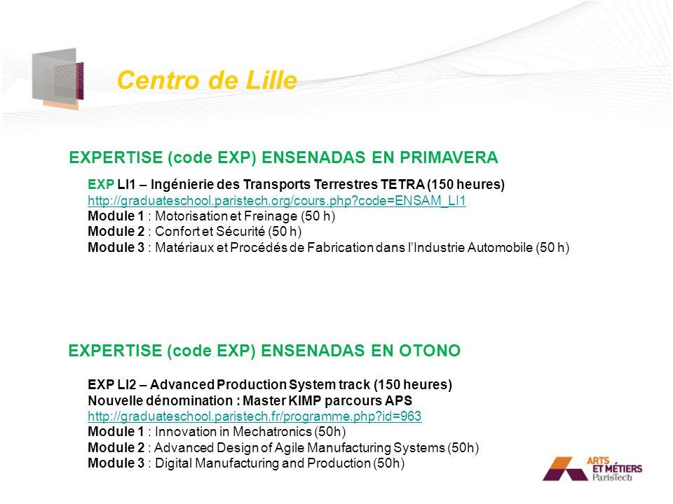 Centro de Lille EXPERTISE (code EXP) ENSENADAS EN PRIMAVERA
