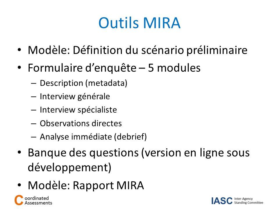 Outils MIRA Modèle: Définition du scénario préliminaire