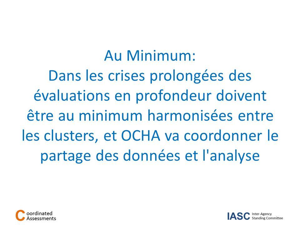 Au Minimum: Dans les crises prolongées des évaluations en profondeur doivent être au minimum harmonisées entre les clusters, et OCHA va coordonner le partage des données et l analyse