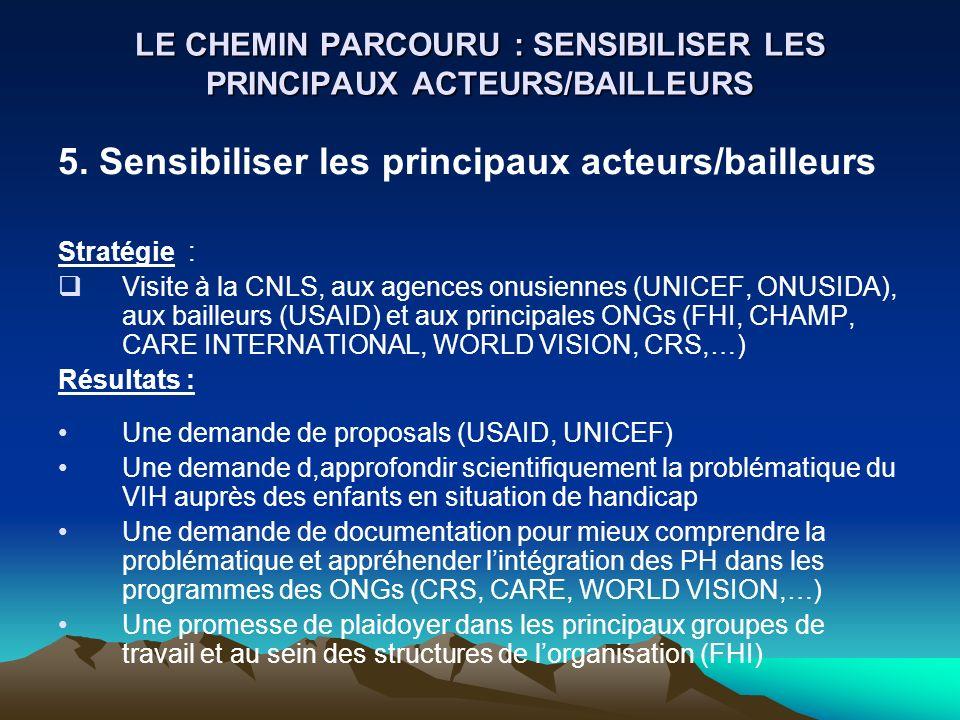 LE CHEMIN PARCOURU : SENSIBILISER LES PRINCIPAUX ACTEURS/BAILLEURS
