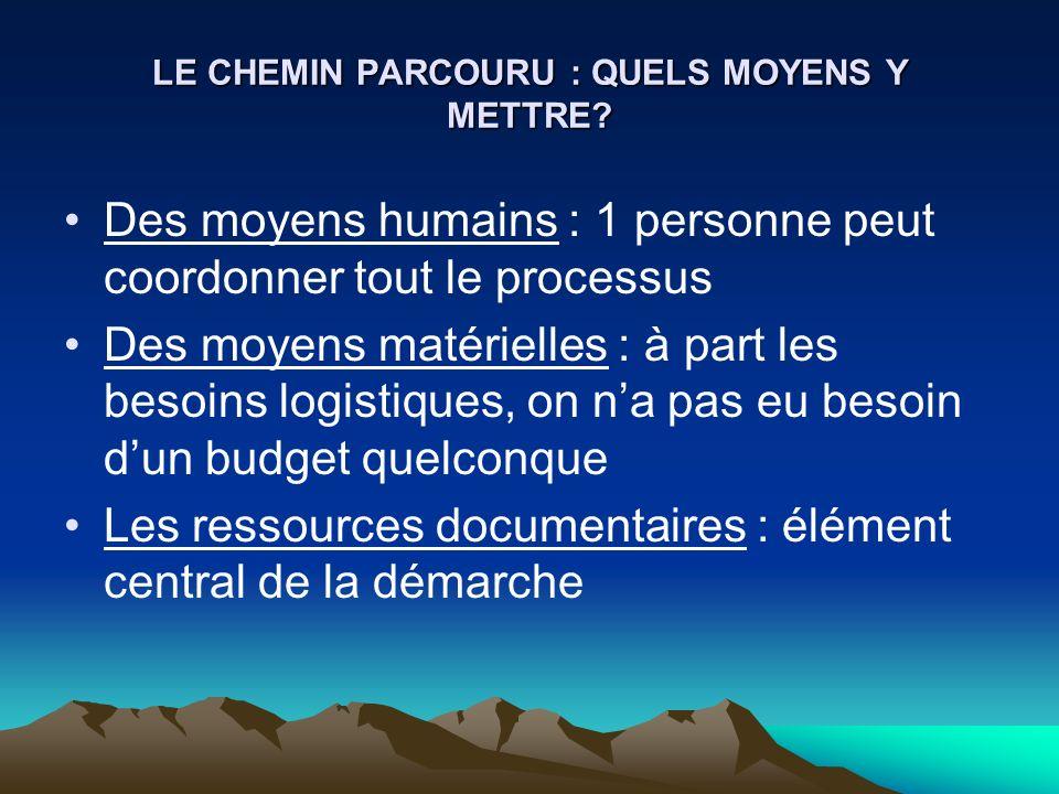 LE CHEMIN PARCOURU : QUELS MOYENS Y METTRE