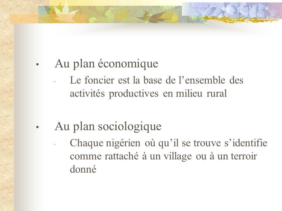 Au plan économique Au plan sociologique